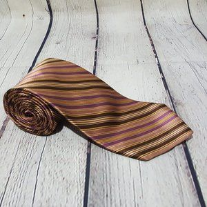 Ted Baker Brown Gold Purple Stripe 100% Silk Tie
